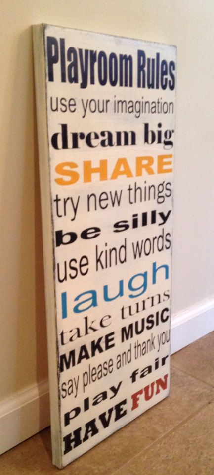 Playroom Rules sign wood wall art by MittenMadeDesigns on Etsy, $30.00