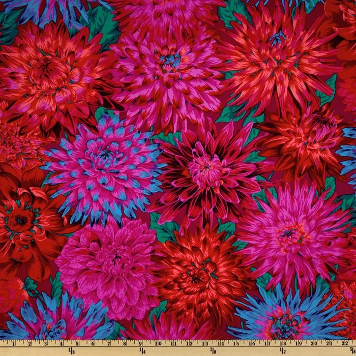 Kaffe Fassett Collective 2012 Cactus Dahlias Red from @fabricdotcom  Kaffe Fassett is known for his bold prints and great sense of color. This vibrant cotton print fabric is perfect for quilting, apparel, crafts and home décor accents. Colors include green, blue, pink, hot orange, red and maroon.