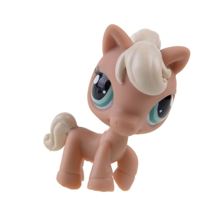 Rare Hasbro Littlest Pet Shop LPS Brwon Horse Curly Gift Toy Animals