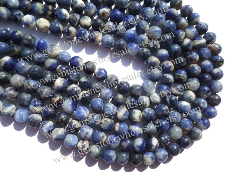 Sodalite Smooth Round (Quality D) (Pack of 7 Strands) / 7.5 to 8.5 mm / 27 to 29 Grms / 36 cm / SOD-003 by GemstoneWholesaler on Etsy