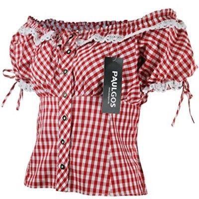 PAULGOS-Damen-Trachtenbluse-Carmenbluse-Trachten-Bluse-Rot-Blau-Weiss-Kariert-0
