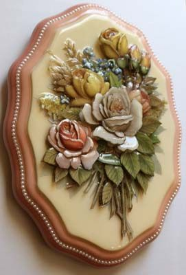 生徒のIさん制作 樹脂仕上げのバラのプラーク