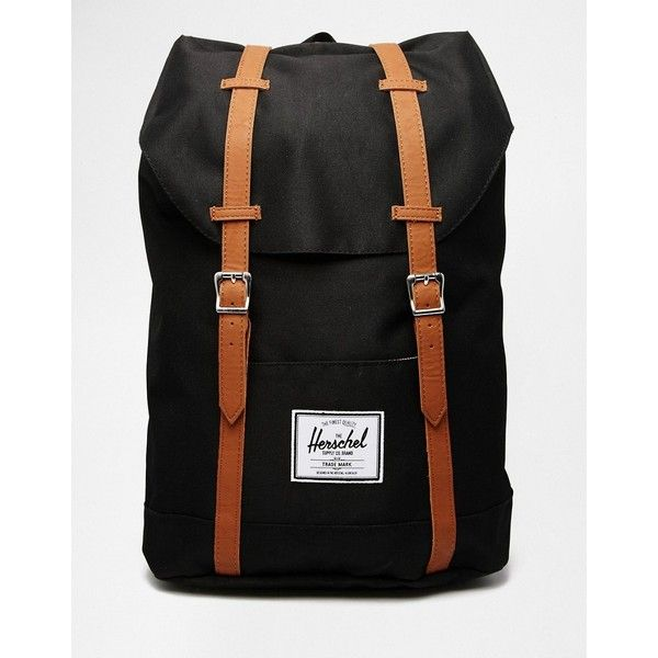 Herschel Supply Co Retreat Mid Volume Backpack with Contrast Strap ($125) ❤ liked on Polyvore featuring bags, backpacks, black, draw string backpack, travel rucksack, polyester drawstring backpack, day pack backpack and shopper handbag