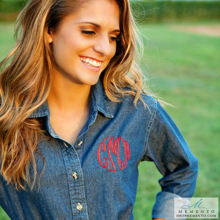 Monogrammed Denim Shirt - Ladies Denim Button Down Shirt, Gift for Her, Christmas Gift, Personalized Denim Shirt by shopmemento on Etsy https://www.etsy.com/listing/258088462/monogrammed-denim-shirt-ladies-denim Ivory letters