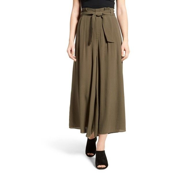 Women's Leith Paperbag Waist Culottes featuring polyvore, women's fashion, clothing, pants, capris, olive sarma, olive pants, brown trousers, brown pants, paperbag pants and green camo pants