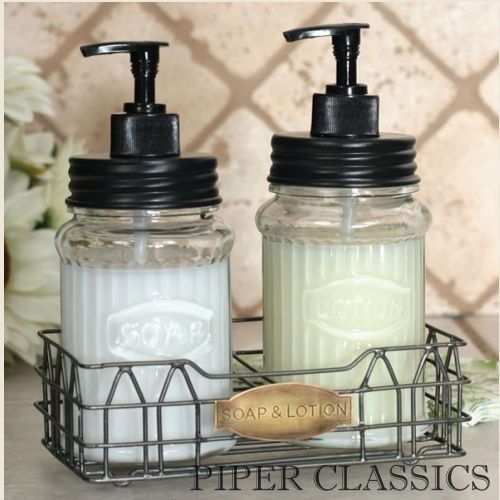 Marvelous Vintage Shabby Chic Hoosier Jar Large Lotion Soap Dispenser With Wire Caddy  Set