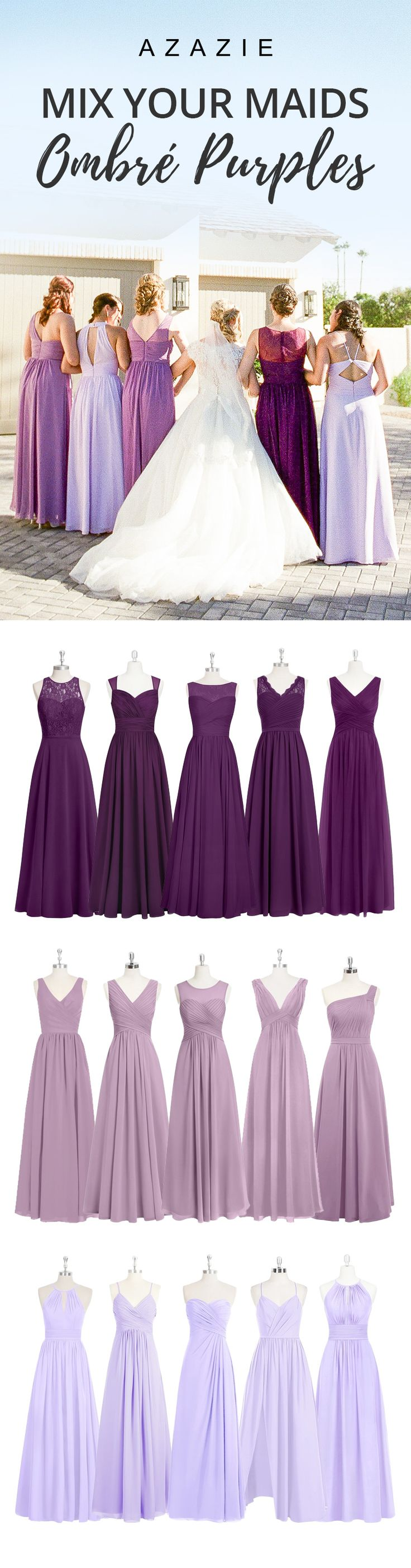 Mixing-and-match your bridesmaids in gorgeous purples. Wedding tip: Order color swatches to see the colors in our various fabrics for easy wedding planning!