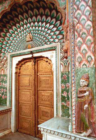 One of the many beautiful doorways of Ambar Palace, Jaipur, India