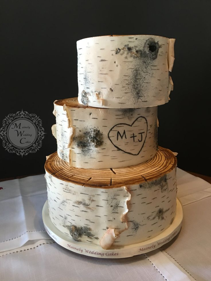 3 Tier Birch Bark Fondant Off Set Mainely Wedding Cakes