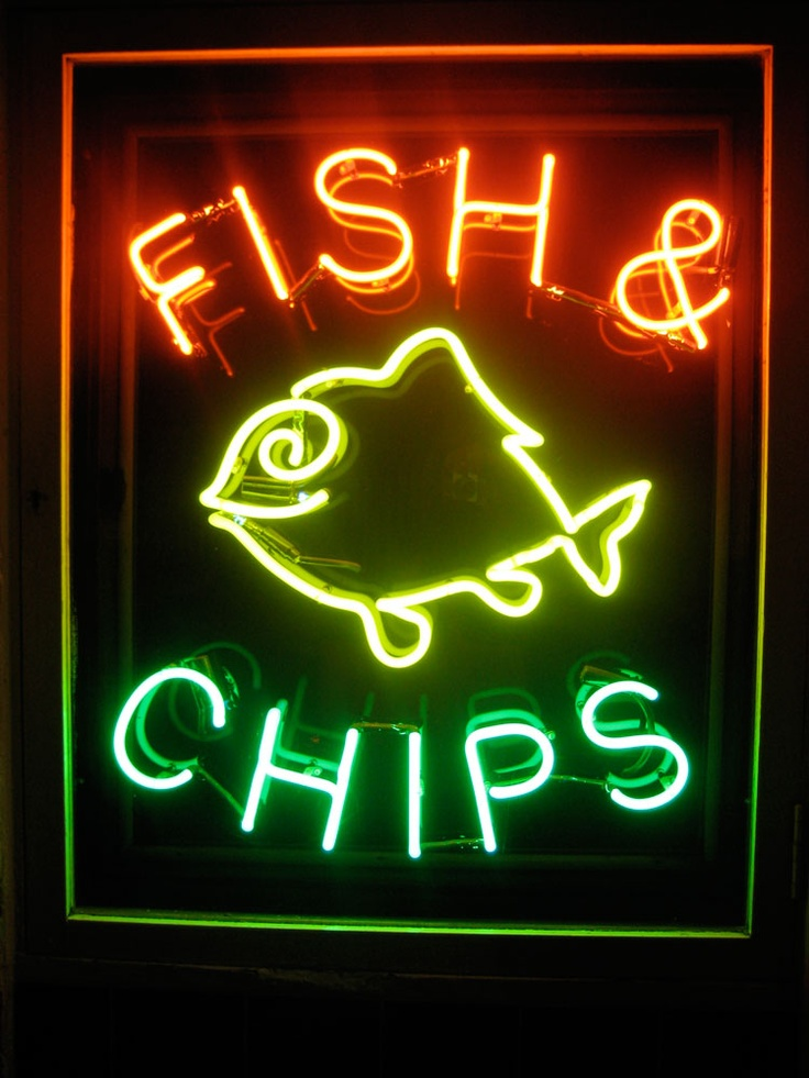 623 best artwork logos food images on pinterest for Fish neon sign