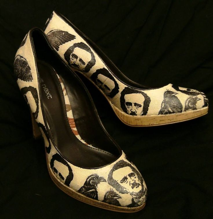 Edgar Allen Poe Shoes... they're creepy but awesome!