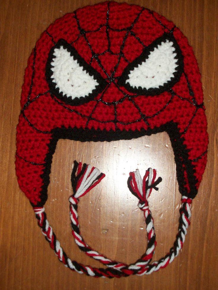 Crochet Spiderman hat Childrens/Baby/adult. $24.00, via Etsy.