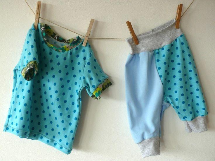Baby T-Shirt Pumphose Kunterbunt in Gr. 68/74 von Klitzefanten auf DaWanda.com