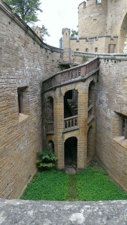 An interesting little staircase in Hohenzollern Castle in the foothills of the Swabian Alps of central Baden-Württemberg, Germany.
