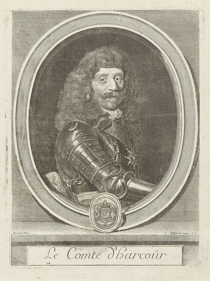Gerard Edelinck | Portret van Henri de Lorraine, Gerard Edelinck, Lodewijk XIV (koning van Frankrijk), 1666 - 1707 | Portret van de Franse generaal Henri de Lorraine (1601-1666), graaf van Harcourt, bijgenaamd Cadet la Perle, omdat hij de jongste van de familie was en een pareloorbel droeg. Afgebeeld in harnas en met pareloorbel, in ovale omlijsting met wapen.
