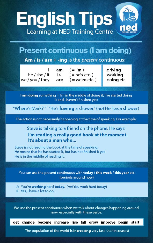 English Tips at NED Training Centre. Present Continuous (I am doing).