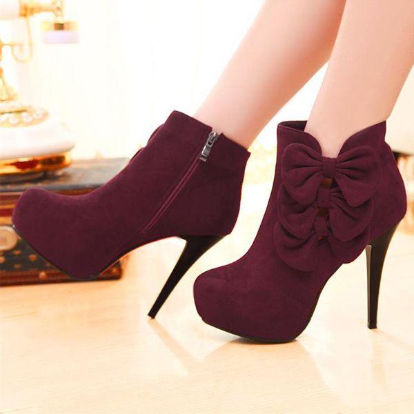 Bow Embellished Stiletto Heel Fashion Boots