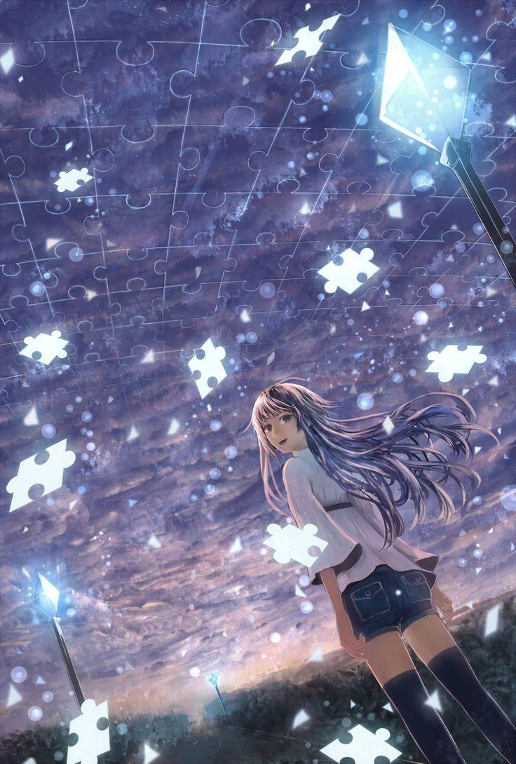 anime girl with jigsaw pieces