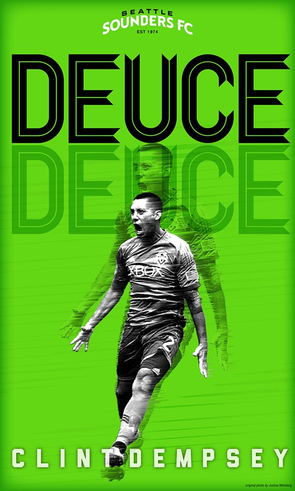 Seattle Sounders Poster Series - Deuce/Deuce: Clint Dempsey - by Justin Lobban #Seattle #Sounders #soccer