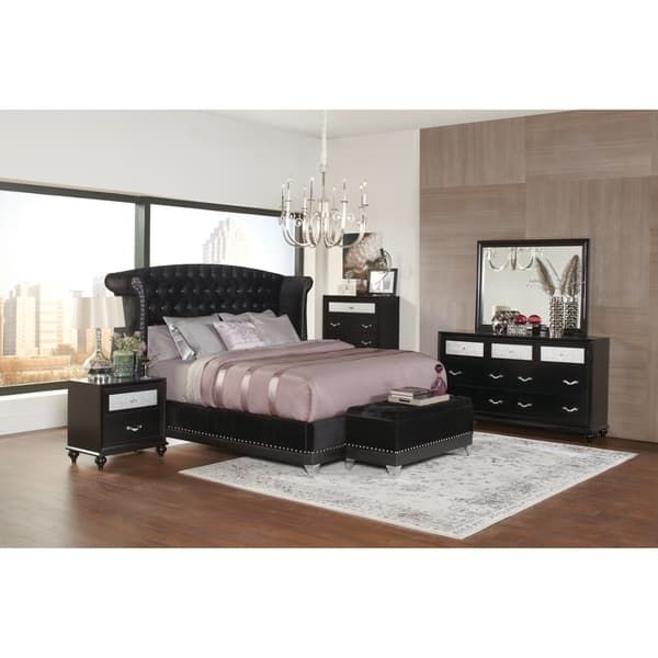 Silver Orchid Andra Black 4-piece Upholstered Bedroom Set ...