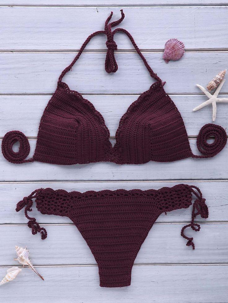 Sexy Halterneck Purple Crochet Bikini Set For Women PURPLE: Bikinis | ZAFUL | http://www.zaful.com/sexy-halterneck-purple-crochet-bikini-set-for-women-p_181891.html