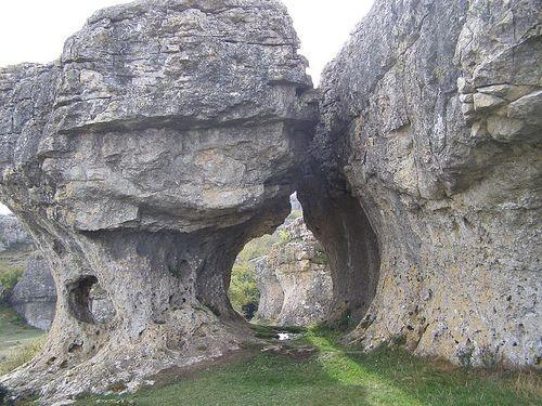 Shapes in the rocks of Las Tuerces, in Villaescusa de las Torres, Palencia (Spain).