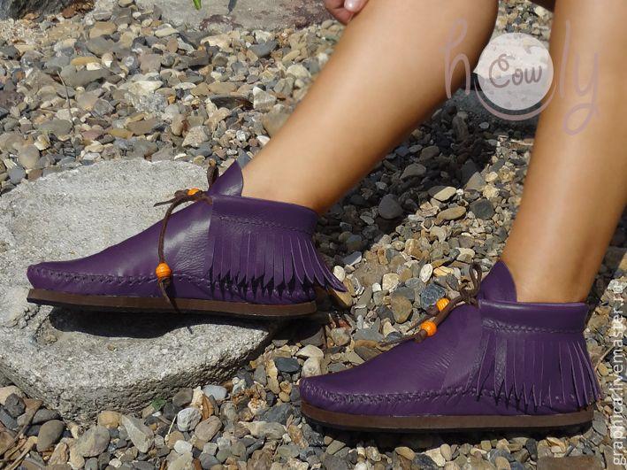 Купить Стильные кожаные ботиночки «Positive Purple» - тёмно-фиолетовый, ботинки, кожаные сапоги