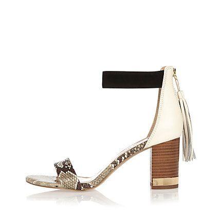 Beige print mid heel tassel sandals $96.00