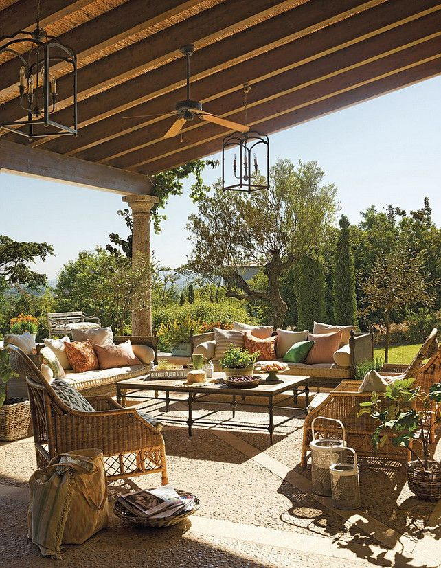 WONDERFUL COMFORTABLE OUTDOOR SPACE. COLOR CHOICES! LOVE THE FLOORING TOO.  HomeBunch Great Patio Decorating Ideas!
