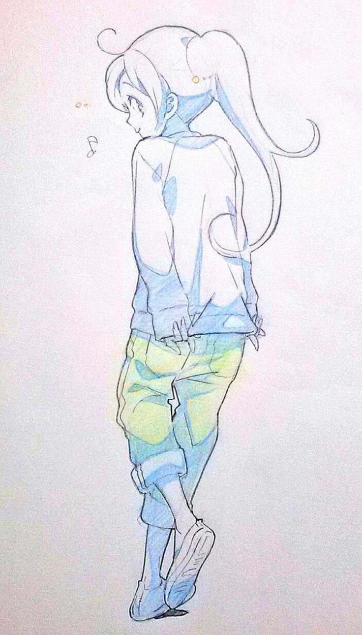 Dessins de filles coquines au crayon bleu