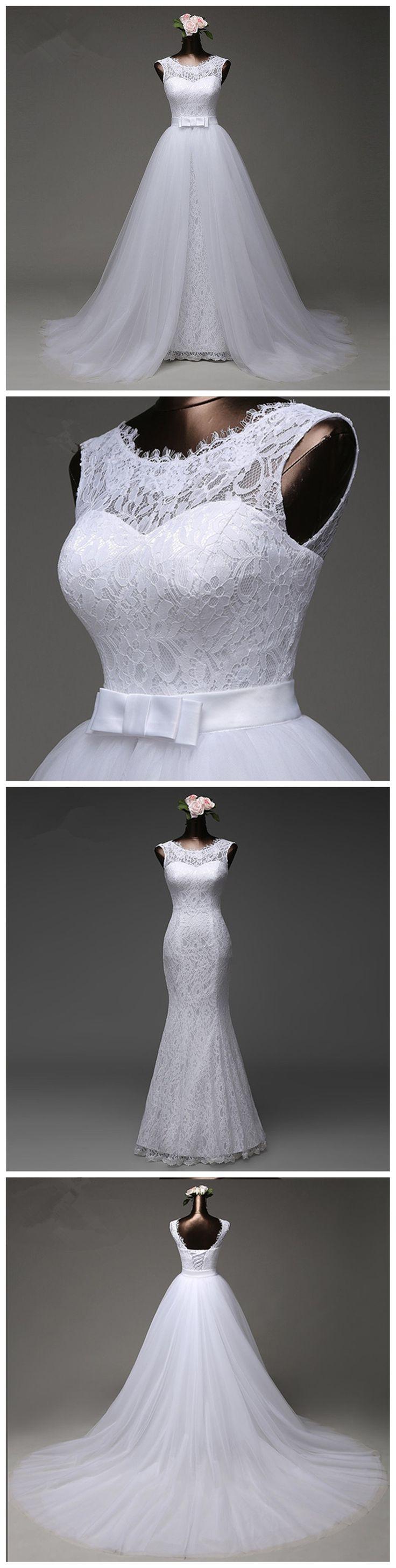 Unique Detachable Skirt Lace Mermaid Wedding Bridal Dresses, Custom Made Wedding Dresses, Affordable Wedding Bridal Gowns, WD239 #wedding #weddingdresses #laceweddingdresses #cheapweddingdresses #mermaidweddingdress #bridal #bridaldresses