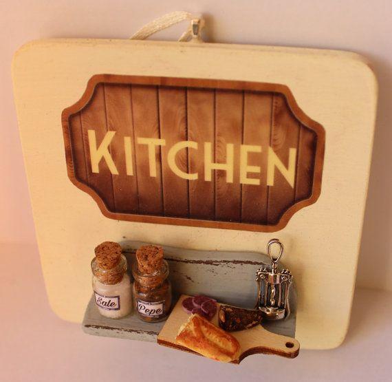 Vintage kitchen handmade door hanger wood by ManthaCreaMiniatures