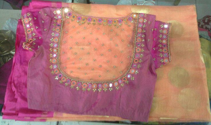 Kota saree with blouse mirror work 7702919644