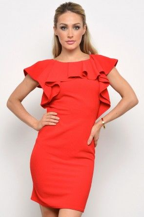 Libbie Frill Neck Dress in Red