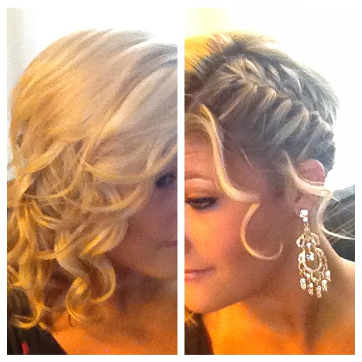 sleek french braid on one side, curls on the other side ...