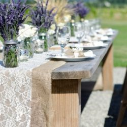 A rustic country wedding with burlap, lace and lavender accents.