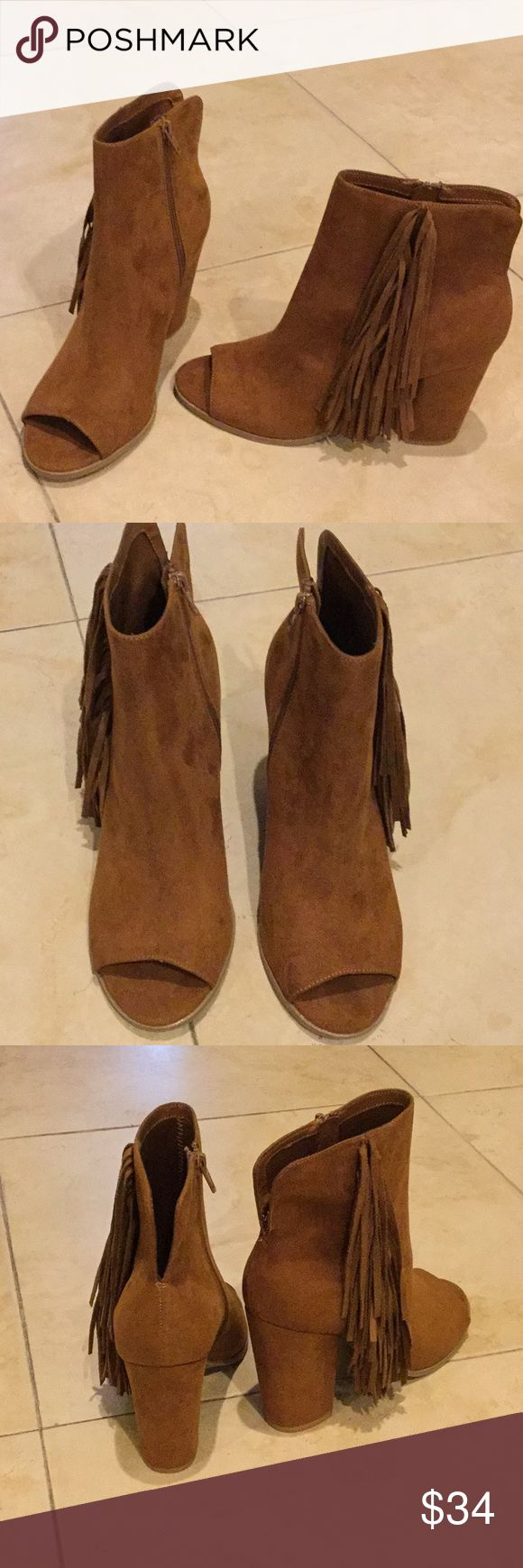 Peep toe booties Camel brown color peep toe booties Big Buddha Shoes Ankle Boots & Booties