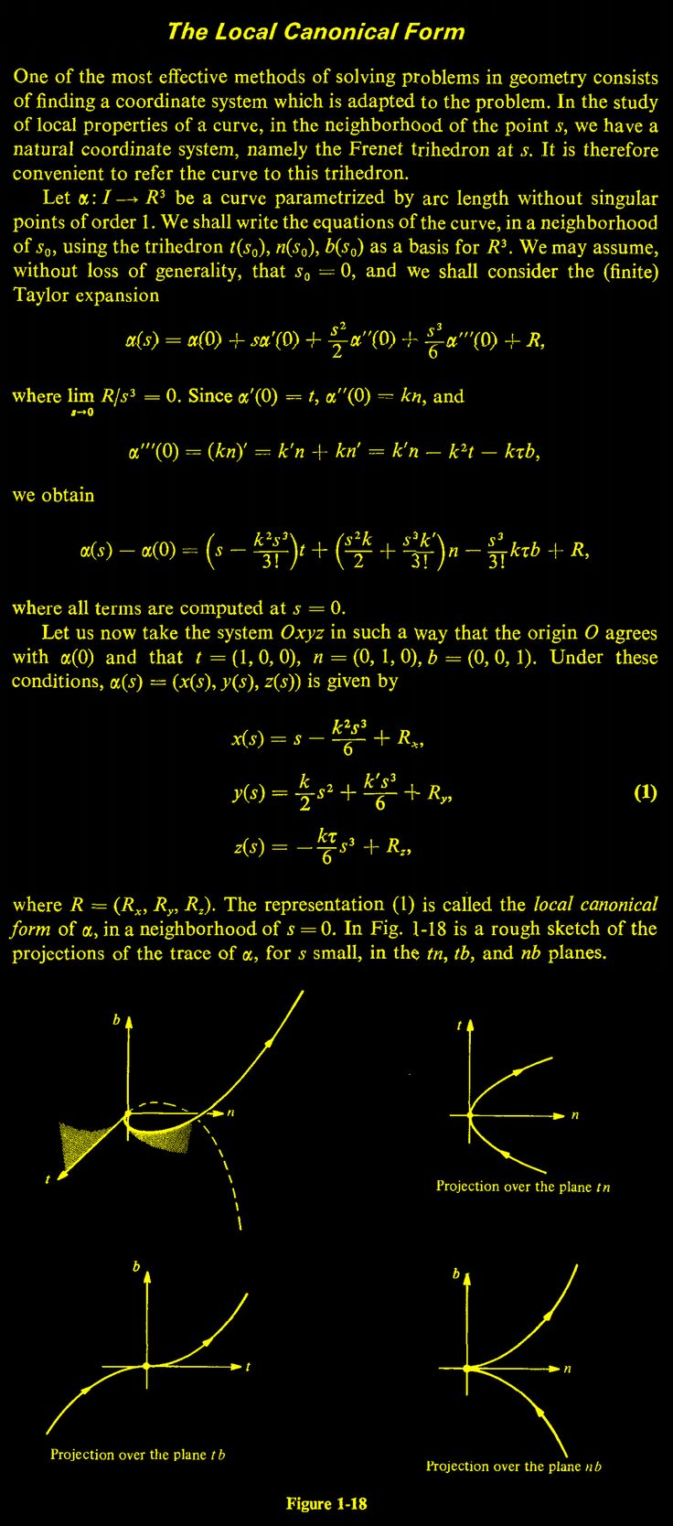 The Local Canonical Form of a Curve in 3D Euclidean Space