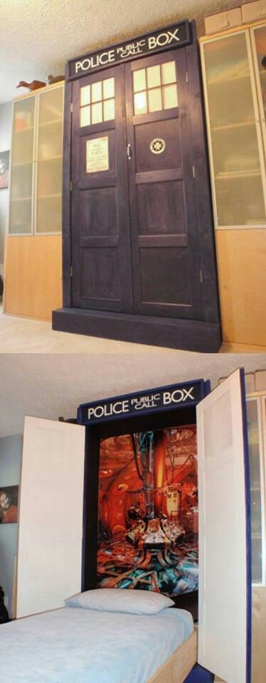 Haha its the TARDIS! Such a cool murphy bed, especially for Doctor Who fans!