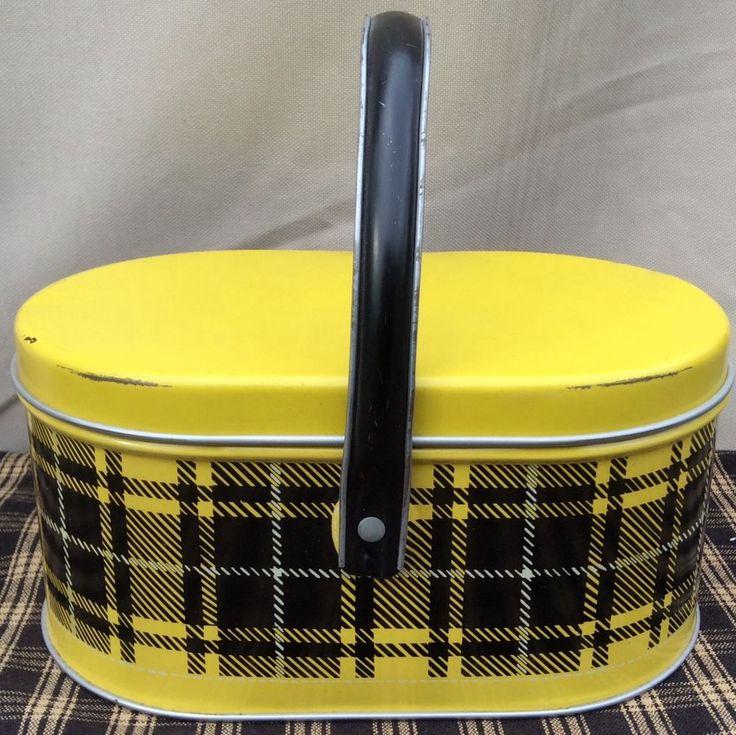 VINTAGE METAL TIN LUNCHBOX PICNIC BASKET YELLOW AND BLACK PLAID | eBay