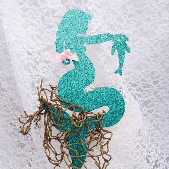 Pregnant Mermaid Cake Topper - Cupcake Toppers - Baby Shower Decorations - Mom To Be - Boy Party - Girl Party - Custom Colors - Baby Tummy