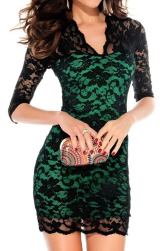 Green V-neck Three Quarter Sleeves Figure-hugging Lace Party Dress