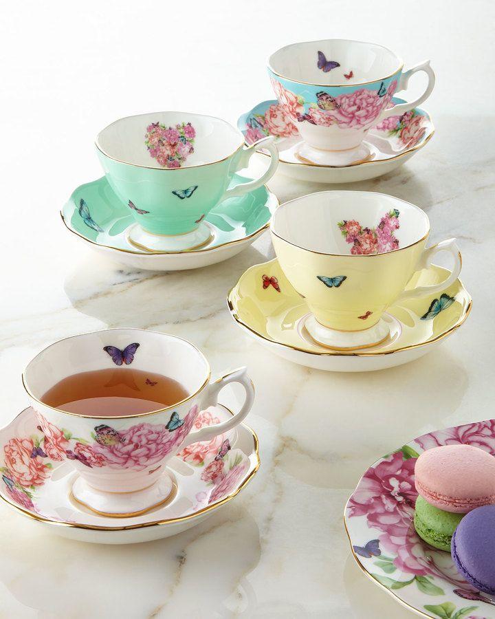 Miranda Kerr for Royal Albert Teacups & Saucers, Set of 4