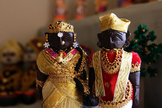 MYSORE - Dasara Pattada gombe or royal dolls - these dolls were presented to the bride and the groom at the time of marriage as toys for the child couple. Yet another lore - these dolls dressed in their wedding attire helped in capturing the moment in the days where technology was clearly non-existent. In the absence of pictures, what better way to remember the way you looked when you were married !! More info - http://anandhirajansartsncrafts.blogspot.com/2011/09/navarathri.html (Malini)