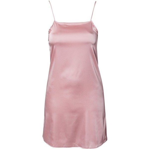 Oh My Love Satin Cami Dress ($37) ❤ liked on Polyvore featuring dresses, powder pink, womens-fashion, satin dress, pink dress, satin cami, tall dresses and loose fitting dresses