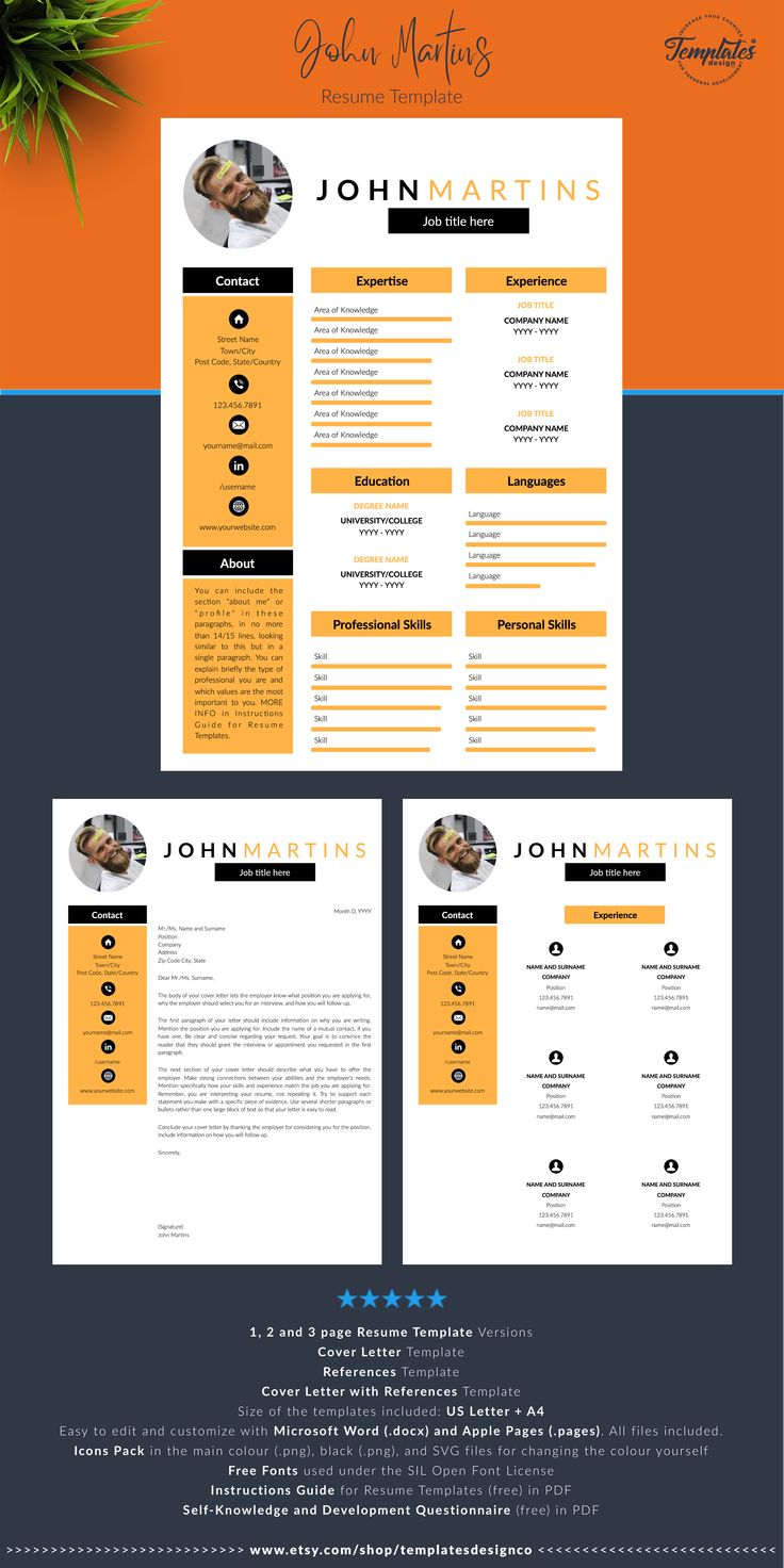 Professional Marketing CV Resume Template / Curriculum for