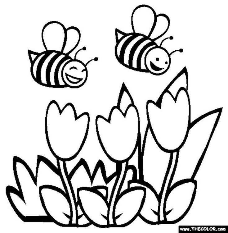 kids will love these free springtime coloring pages - Spring Flower Coloring Pages