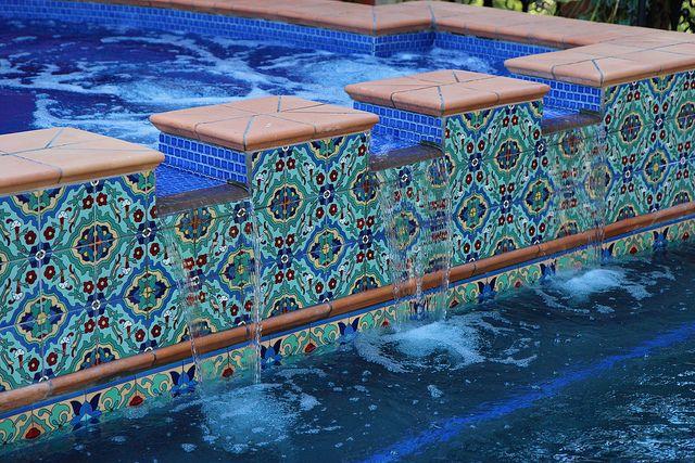 Cool Pool Tile Spanish Home In So California