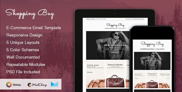 Shopping Bag Responsive Ecommerce Email Template Responsive Bag