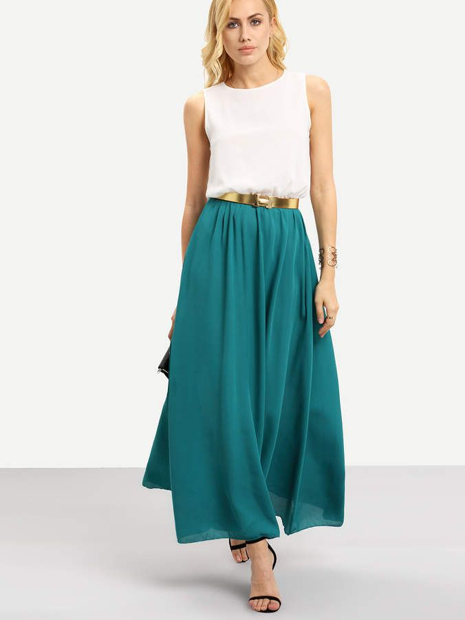 Color Block Floaty Chiffon Teal Maxi Dress With Belt... gives the illusion of it being a skirt and a top. Love it.